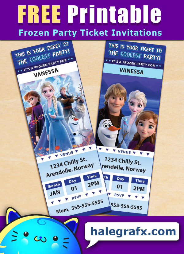 FREE Printable Frozen Ticket Party Invitations