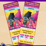 FREE Printable Trolls Ticket Party Invitations