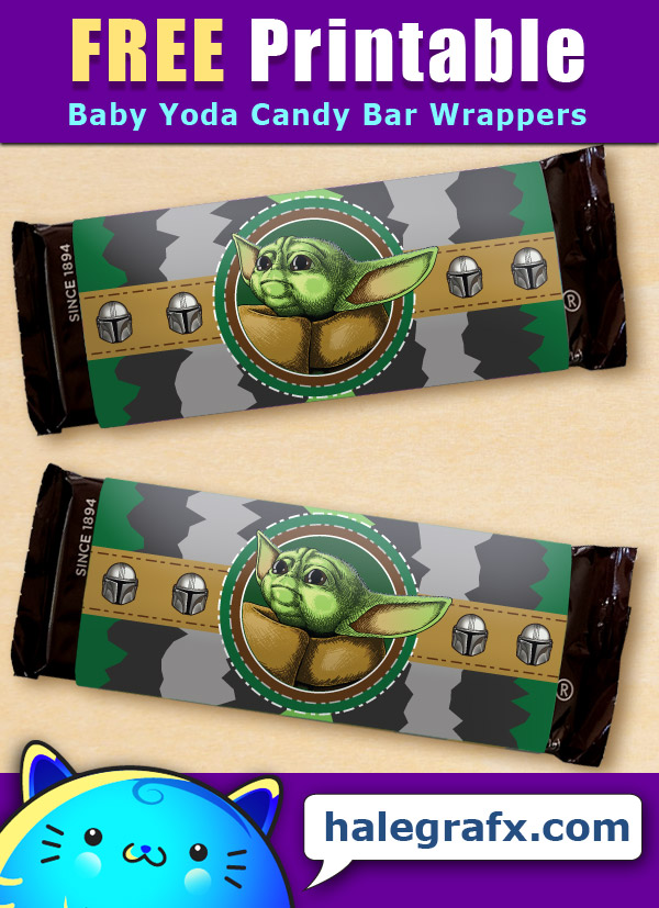 FREE Printable Mandalorian Baby Yoda Candy Bar Wrappers