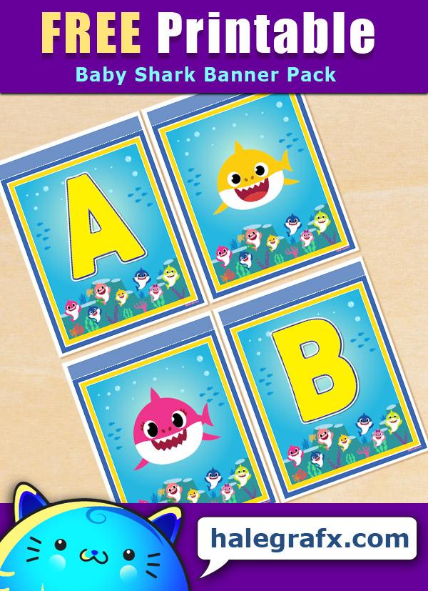 FREE Printable Baby Shark Alphabet Banner Pack
