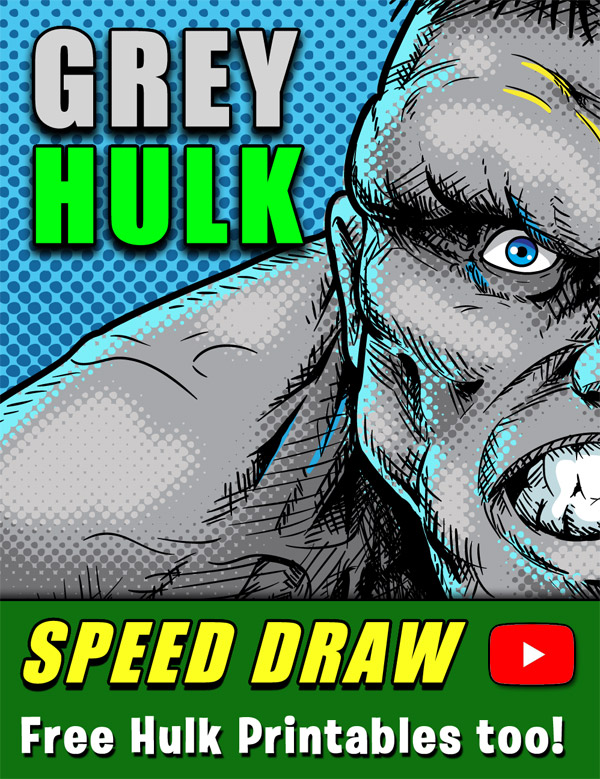 Incredible Hulk Speed Draw Video and free printables!