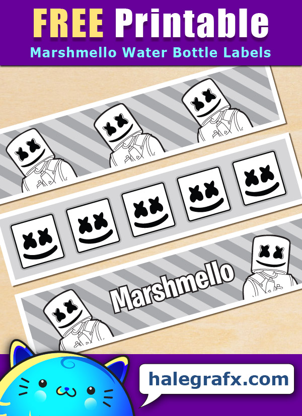 Free Printable Marshmello Themed Water Bottle Labels