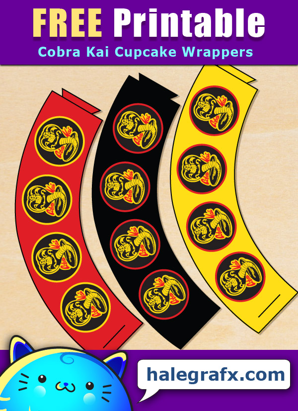 FREE Printable Cobra Kai Cupcake Wrappers