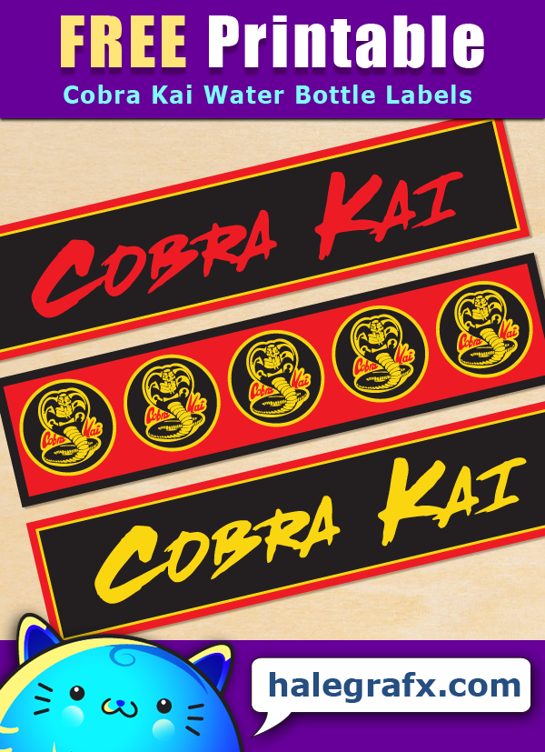 Free Printable Cobra Kai Themed Water Bottle Labels