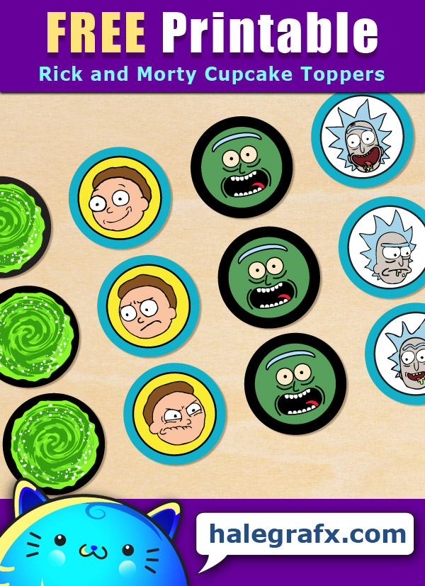 FREE Printable Rick and Morty Cupcake Toppers
