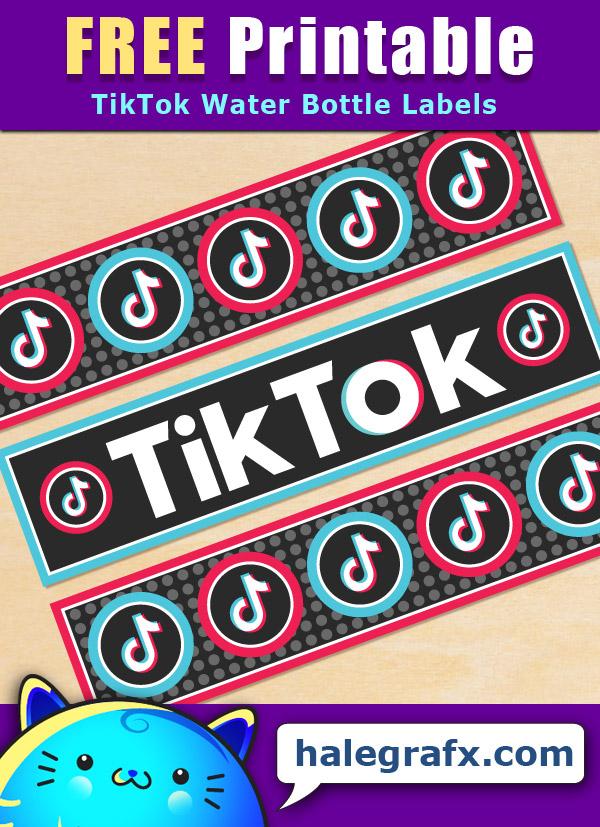 Free Printable Tiktok Themed Water Bottle Labels