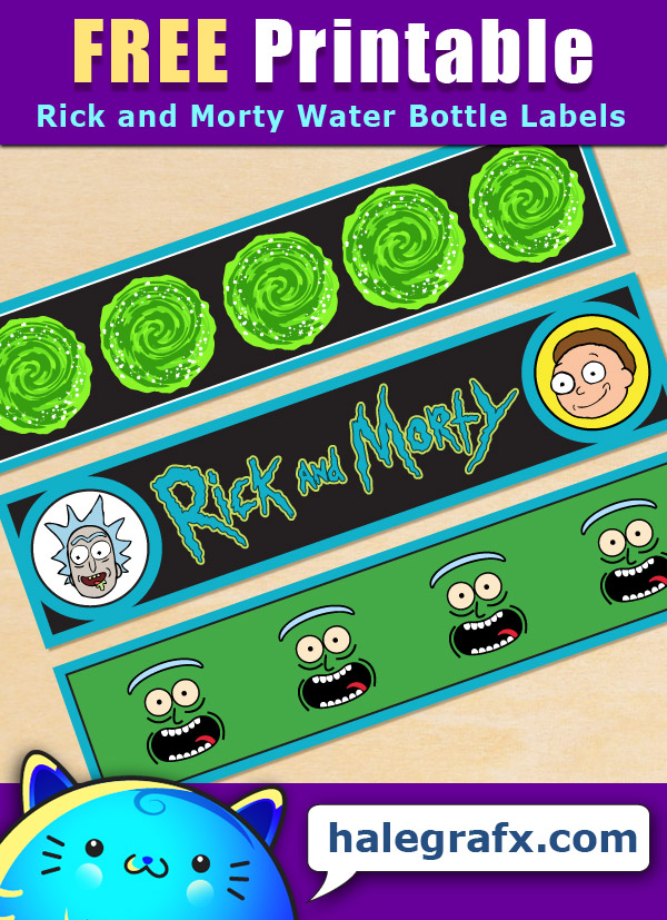 Free Printable Rick and Morty Water Bottle Labels